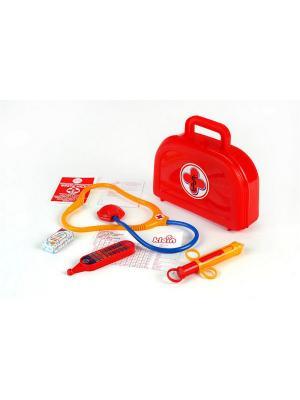 Набор доктора в красном чемоданчике с рецептами KLEIN. Цвет: красный
