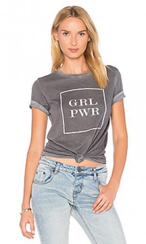 Футболка grl pwr banner TYLER JACOBS. Цвет: серый
