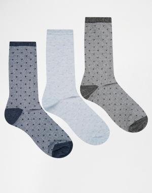 Lovestruck 3 пары носков в фактурный горошек. Цвет: синий