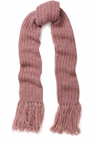 Шерстяной шарф фактурной вязки с бахромой Acne Studios. Цвет: розовый