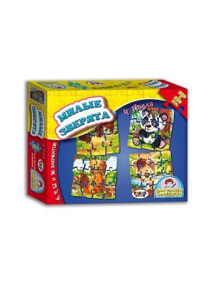 Набор пазлов 4в1 для самых маленьких Милые зверята, настольно-печатная игра TopGame. Цвет: синий, желтый, красный
