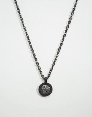 Icon Brand Черное ожерелье с медальоном эксклюзивно для ASOS. Цвет: черный