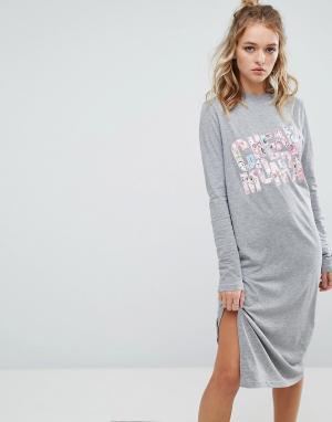 Cheap Monday Платье-футболка с длинными рукавами и цветочным принтом. Цвет: серый