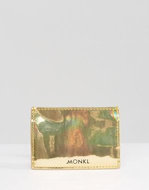 Monki Визитница цвета металлик. Цвет: золотой