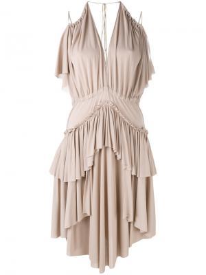 Платье с оборками Philosophy Di Lorenzo Serafini. Цвет: розовый и фиолетовый