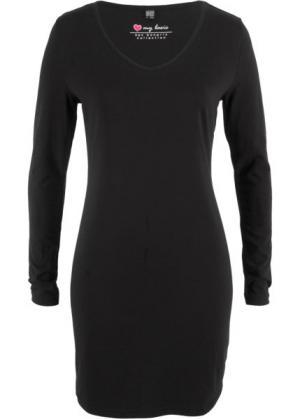 Трикотажное платье-стретч с длинным рукавом (черный) bonprix. Цвет: черный