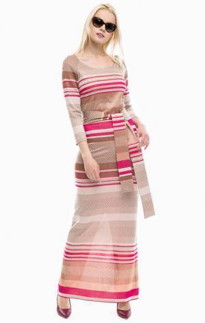 Длинное платье из вискозы в полоску Patrizia Pepe. Цвет: полоска