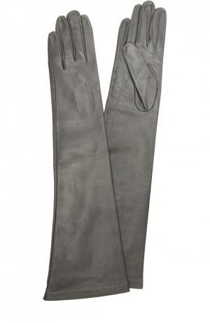 Длинные кожаные перчатки Sermoneta Gloves. Цвет: темно-серый