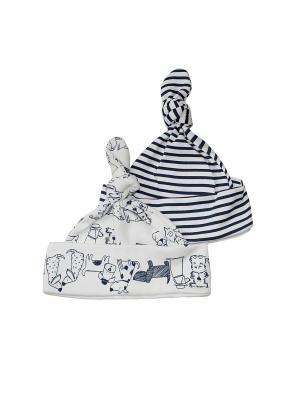 Набор из двух шапочек NewBorn. Цвет: синий, молочный