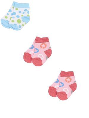 Носки детские,комплект 3 шт. Skinija. Цвет: розовый, белый