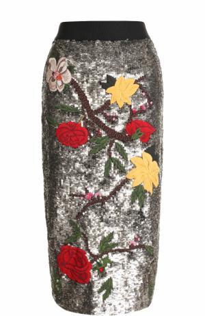 Юбка-карандаш с вышивкой пайетками Alice + Olivia. Цвет: серебряный