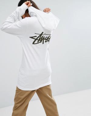 Stussy Свободная футболка с капюшоном и логотипом. Цвет: белый