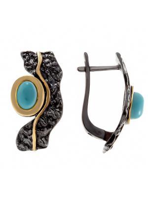 Серьги Балтийское золото. Цвет: черный, голубой, золотистый