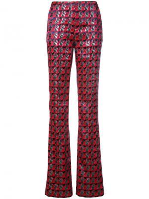 Брюки с плиссировкой Grove Check Dvf Diane Von Furstenberg. Цвет: красный