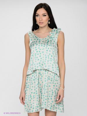 Платье LUIGI FERRO. Цвет: белый, бирюзовый