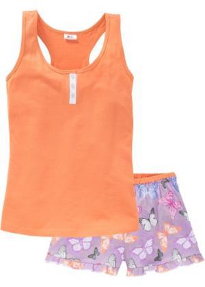 Пижама с шортами (оранжевый бабочками) bonprix. Цвет: оранжевый с бабочками