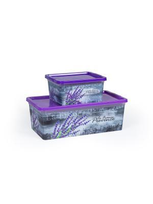 Комплект из 2х коробок Прованс объемом 1,9 л. и  5,5 Полимербыт. Цвет: сиреневый