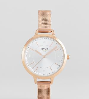 Limit Розово-золотистые часы с сетчатым браслетом эксклюзивно для ASOS. Цвет: золотой