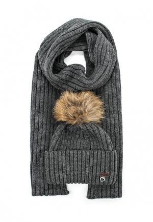 Комплект шапка и шарф Ferz. Цвет: серый