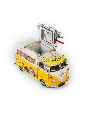 Модель Ретро Автобус жёлтый с белым,с фоторамкой и подставкой для ручек 4х5см PLATINUM quality. Цвет: желтый, белый