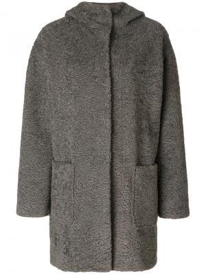 Свободное пальто с капюшоном Vanessa Bruno Athé. Цвет: серый