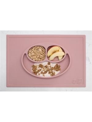 Тарелка с подставкой Ezpz Happy Mat Blush. Цвет: бледно-розовый