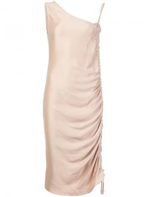 Асимметричное присборенное платье Barbara Casasola. Цвет: телесный