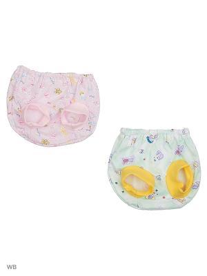 Трусы под памперс, 2 штуки Babycollection. Цвет: розовый, салатовый