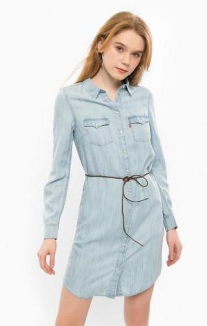 Джинсовое платье с длинными рукавами Levi's®. Цвет: синий