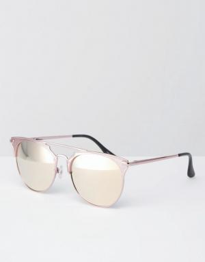 Quay Australia Солнцезащитные очки кошачий глаз в металлической оправе с плоскими зер. Цвет: золотой