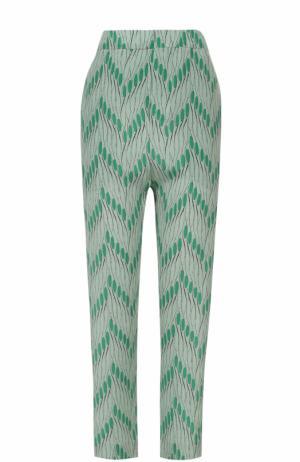 Укороченные шелковые брюки с принтом Marni. Цвет: зеленый