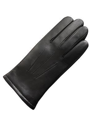 Кожаные перчатки ESMEE. Цвет: черный