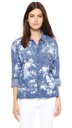 Винтажная рубашка из денима Rialto Jean Project. Цвет: белый