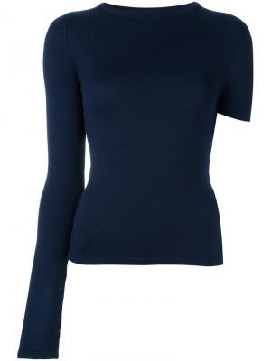 Пуловер с асимметричными рукавами Jacquemus. Цвет: синий