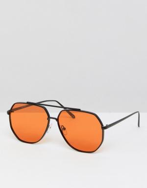 ASOS Солнцезащитные очки-авиаторы в металлической оправе с оранжевыми стекл. Цвет: черный