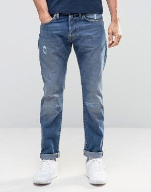 Edwin Суженные книзу джинсы с потертостями ED-55. Цвет: синий