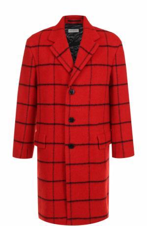 Шерстяное однобортное пальто в клетку Dries Van Noten. Цвет: красный
