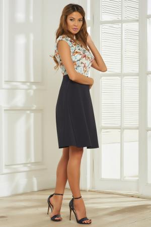 Платье-миди с расклешенной к низу юбкой Vittoria Vicci. Цвет: темно-синий
