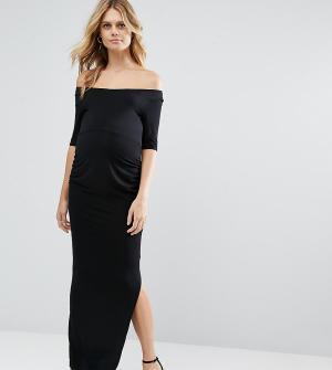 ASOS Maternity Платье макси для беременных с вырезом лодочкой и рукавами до локтя ASO. Цвет: черный