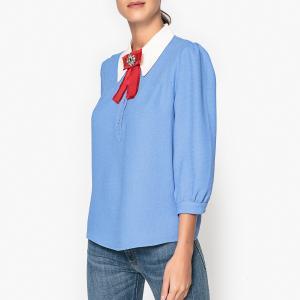 Блузка с брошью PAPYRUS ESSENTIEL ANTWERP. Цвет: синий