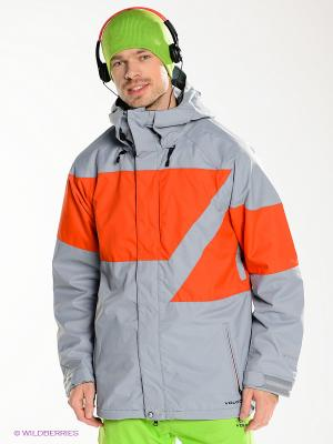 Куртка Volcom. Цвет: серый, оранжевый