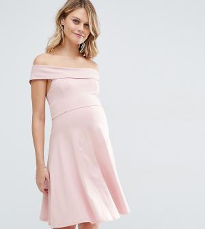ASOS Maternity Короткое приталенное платье для беременных с открытыми плечами Ma. Цвет: кремовый