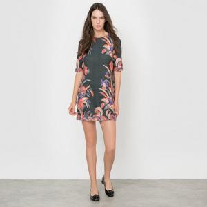 Платье прямого покроя с рисунком и рукавами 3/4 MOLLY BRACKEN. Цвет: набивной рисунок