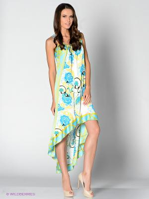 Платье Analili. Цвет: светло-голубой, светло-желтый