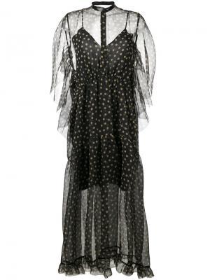Полупрозрачное платье в горошек Petar Petrov. Цвет: чёрный
