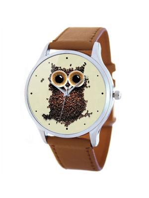 Дизайнерские часы Кофейная сова Tina Bolotina. Цвет: коричневый