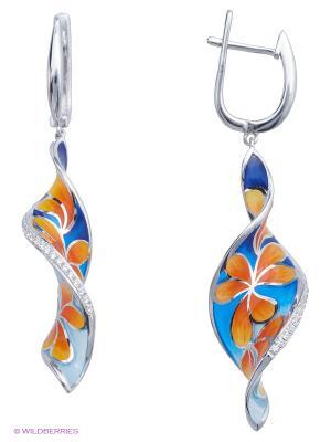 Серьги BALEX. Цвет: голубой, серебристый, оранжевый, синий