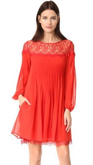 Кружевное платье The Kooples. Цвет: красный
