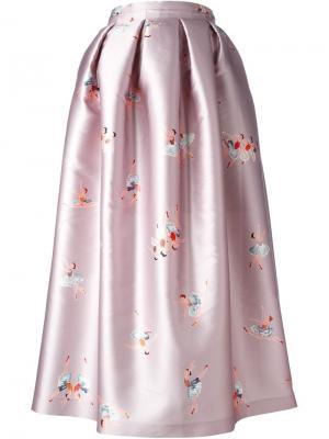Юбка с принтом Ballerina Rochas. Цвет: розовый и фиолетовый