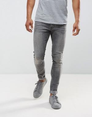 Just Junkies Серые выбеленные супероблегающие джинсы. Цвет: серый